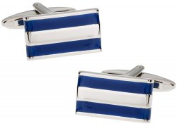 2 Bar Blue Enamel Cufflinks