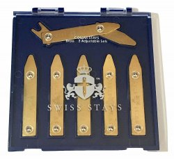 3 Pairs Adjustable Brass Collar Stays