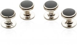 4 Silver Black Shirt Studs