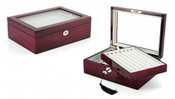 Large Cufflinks Box Storage Case | Mahogany Double Layer Cufflinks Lapel Pins Ring Holder | Double Decker Jewelry Cufflink Display Organizer