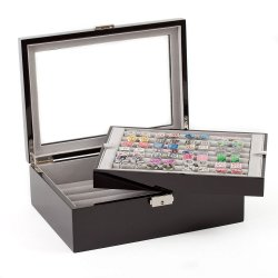 Cufflinks Storage Case Black Double Layer (72 pair capacity)