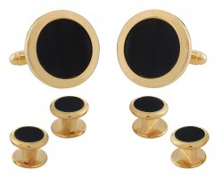 Mens Round Black Onyx Gold Cufflinks Studs Tuxedo Formal Set