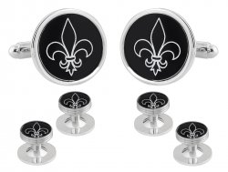 Fleur De Lis Black Silver Cufflinks Studs Tuxedo Formal Set