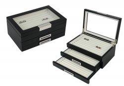 Mens Matte Black Wood Cufflinks Rings Triple Layer Storage Box Case with Glass Window