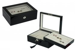 Cufflinks Storage Box Large Glossy Black (72 pair capacity)