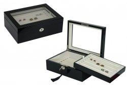 Cufflinks Storage Box Large Glossy Black (72 pair capacity)
