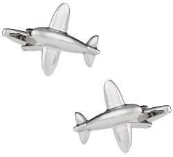 Airplane Cufflinks in Silver - Pilot Gift