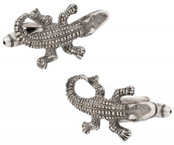 Cajun Alligator Pewter Cufflinks