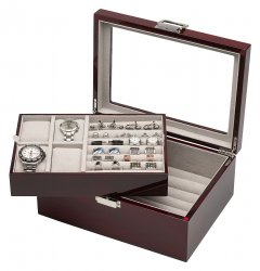 Mahogany Cufflinks Watches Storage Organizer Men's Box Case