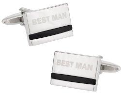 Best Man Wedding Cufflinks with Onyx
