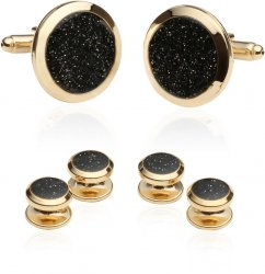Men's Black Diamond Dust Gold Cufflinks and Studs