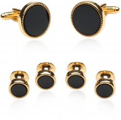 Black Gold Tux Cufflinks and Studs Set