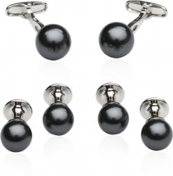 Black Swarovski Pearl Formal Set Cufflinks & Studs
