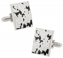 Black White Floral Cufflinks
