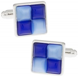 Blue Fiber Optic Glass Cufflinks