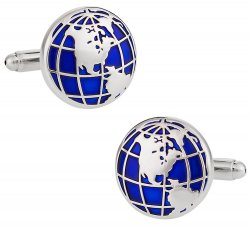 Blue Globe Frequent Flier World Traveler Cufflinks