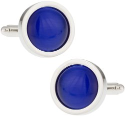 Round Blue Glass Fiber Optic Cufflinks