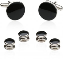 Discount Black Cufflinks and Tuxedo Studs Set