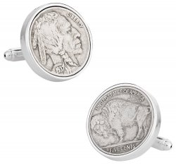 Buffalo Nickel Coin Cufflinks - Sterling Silver Plate