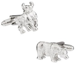 Mens Bull & Bear Cufflinks - Wall Street Finance Cufflink Gift Idea - Includes Travel Box