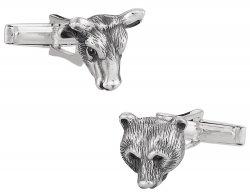 Bull Bear Sterling Silver Head Cufflinks - Great Gift Idea