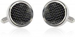 Chic Round Carbon Fiber Cufflinks