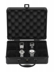 Black Watch Briefcase Aluminum Mens Watches Storage (Holds 8 Timepieces)
