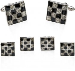 Checkered Style Cufflinks and Studs