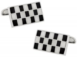 Black and White Checkerboard Cufflinks in Enamel