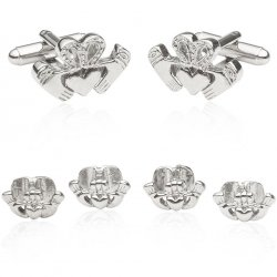 Claddagh Tuxedo Cufflinks and Studs Silver