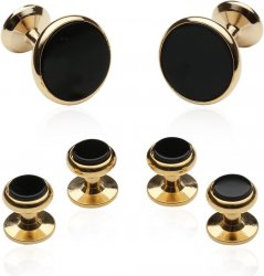 Classic Cufflink Stud Set in Black Gold for Men