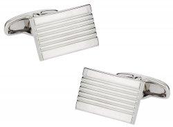 Classic Lined Silvertone Cufflinks