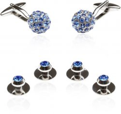 Men's Crystal Ball Cufflinks Studs Blue