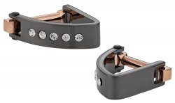 Crystal Wedge Cufflinks in Gun Metal