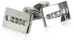 Cubic Zirconia Cufflinks in Silver & Gold