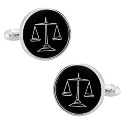 Attorney Lawyer Scales of Justice Silver Black Cufflinks