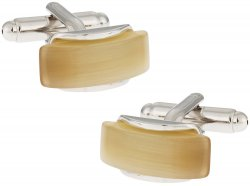 Curved Gold Fiber Optic Glass Cuff links