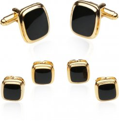 Discount Gold Black Cufflinks and Studs