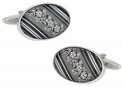 Floral Cufflinks in Black Gray