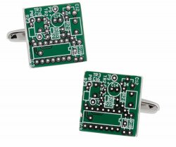 Upcycled Green Circuit Board Computer Chip Motherboard Cufflinks