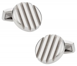 Grooved Stainless Steel Cufflinks