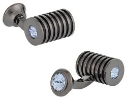 Men's Gunmetal Light Sapphire Swarovski Barrel Cufflinks