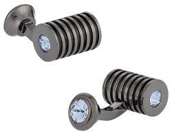 Gunmetal Light Sapphire Swarovski Barrel Cufflinks