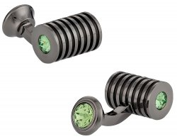 Men's Gunmetal Peridot Swarovski Barrel Cufflinks
