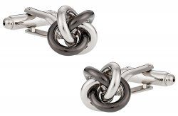 Gunmetal Silver Knot Cufflinks
