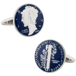 Hand Painted Mercury Dime Cufflinks Blue