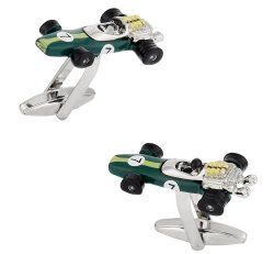 Indy Racecar Cufflinks in Green