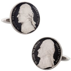 Hand Painted Jefferson Nickel Coin Cufflinks