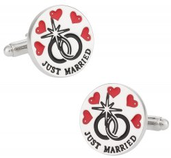 Just Married Cufflinks for New Husband