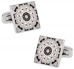 Kaleidoscope Cufflinks in Black & White